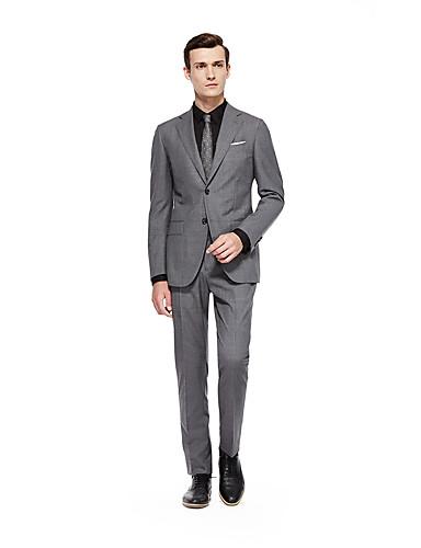 preiswerte Kleider & Accessoires für die Semesterferien-Silber Solide Weite Passform Wolle Anzug - Fallendes Revers Einreiher - 2 Knöpfe