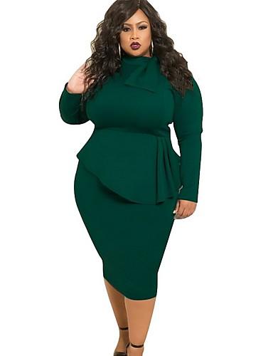 voordelige Grote maten jurken-Dames Slank Bodycon Jurk Maxi