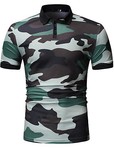 voordelige Herenpolo's-Heren Print EU / VS maat - Polo camouflage Overhemdkraag blauw