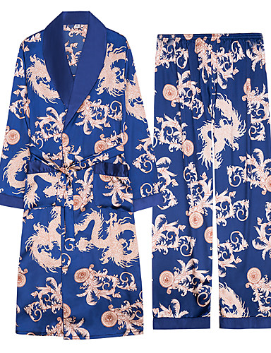 levne Pánské prádlo a plavky-Pánské Šálové klopy Kostýmy Pyžama Barevné bloky