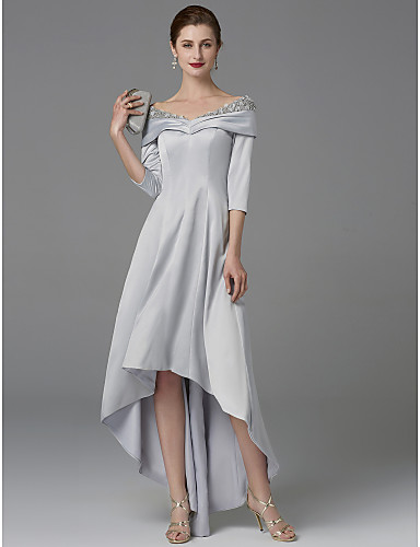 cheap Mother of the Bride Dresses-A-Line Mother of the Bride Dress Sparkle & Shine Off Shoulder Asymmetrical Satin Half-Sleeve with Lace Crystals 2020 Mother of the groom dresses