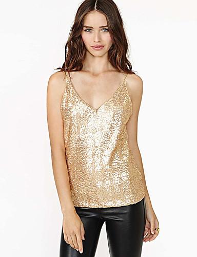preiswerte Für Junge Frauen-Damen Spaghetti-Shirt Solide Pailletten V-Ausschnitt Oberteile Sexy Basic Top Rosa Gold