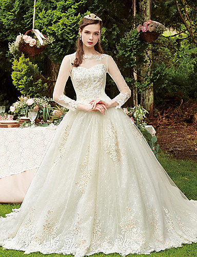 a763140a80 Disney Style Ball Gown / Two Piece Bateau Neck Chapel Train Lace / Tulle  Made-To-Measure Wedding Dresses with Beading / Appliques / Pearls by LAN  TING ...