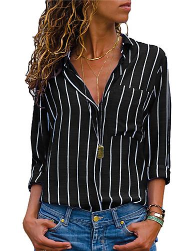 Mulheres Blusa Moda de Rua / Elegante Patchwork, Listrado Preto