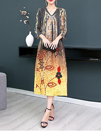 สำหรับผู้หญิง วินเทจ Street Chic ไหม รูปตัว เอ แต่งตัว - รอยจีบ, รูปเรขาคณิต midi คอวี