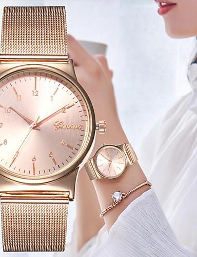 สำหรับผู้หญิง นาฬิกาควอตส์ นาฬิกาอิเล็กทรอนิกส์ (Quartz) สไตล์ ทอง / Rose Gold ดีไซน์มาใหม่ นาฬิกาใส่ลำลอง ระบบอนาล็อก ไม่เป็นทางการ แฟชั่น - สีทอง ทองกุหลาบ หนึ่งปี อายุการใช้งานแบตเตอรี่