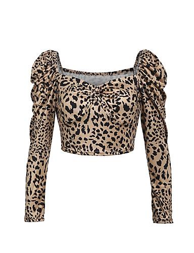 billige Dametopper-Bluse Dame - Leopard, Lapper / Trykt mønster Bohem / Gatemote Hvit