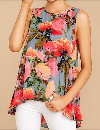 สำหรับผู้หญิง เสื้อเชิร์ต เพรียวบาง ลายดอกไม้ สีน้ำเงิน