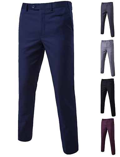 Men's Basic Suits / Chinos Pants - Solid Colored Black Wine Purple M L XL
