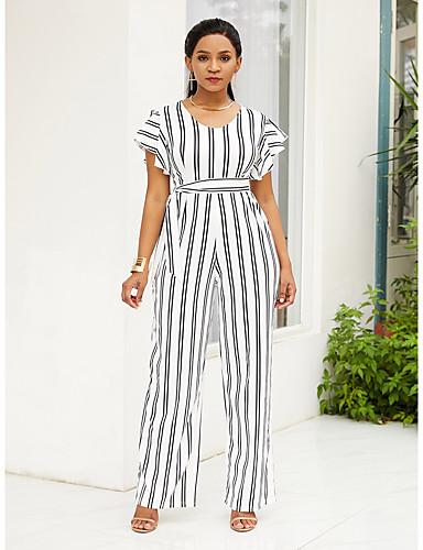 สำหรับผู้หญิง Street Chic ขาว สีดำ ชุด Jumpsuits, ลายแถบ ลายพิมพ์ M L XL