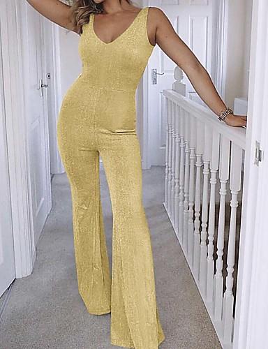 สำหรับผู้หญิง พื้นฐาน คอวี สีดำ สีเงิน อูฐ ชุด Jumpsuits, สีพื้น L XL XXL