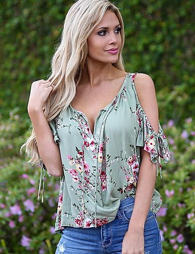 billige T-skjorter til damer-Tynn V-hals T-skjorte Dame - Blomstret, Drapering / Blomster Blå / Vår / Sommer / Høst