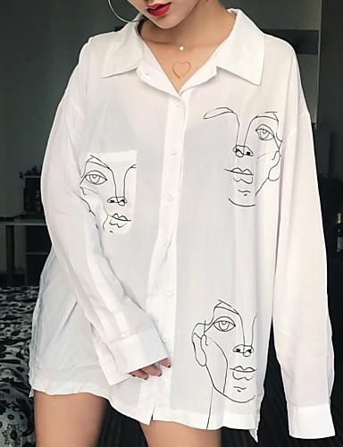 สำหรับผู้หญิง เชิร์ต ลายพิมพ์ คอเสื้อเชิ้ต หลวม การ์ตูน / Portrait ขาว L