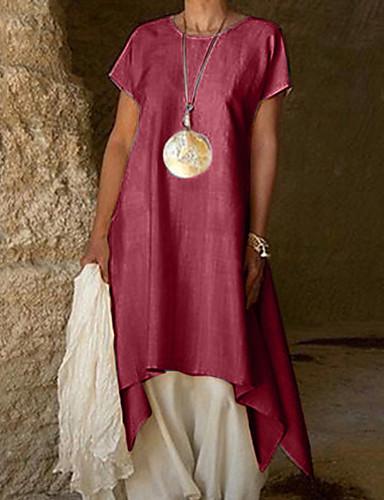 preiswerte Sommerkleider-Damen Grundlegend Hülle Kleid Solide Asymmetrisch