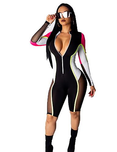 สำหรับผู้หญิง สีน้ำเงิน ขาว สีดำ ชุด Jumpsuits, รูปเรขาคณิต M L XL