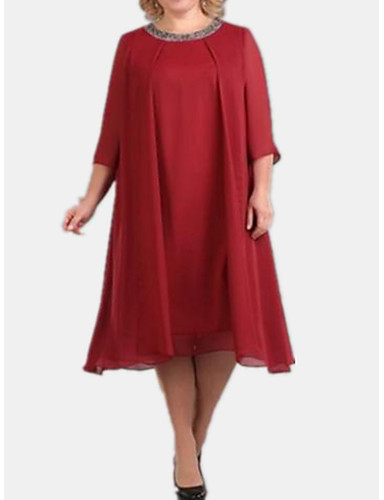 voordelige Grote maten jurken-Dames Standaard Tuniek Jurk - Effen Midi