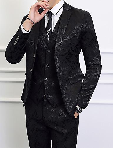 billige Brudgom og brudesvenner-Svart / Mørk Marineblå Mønstret Standard Polyester Dress - Med hakk Enkelt Brystet To-knapp / drakter