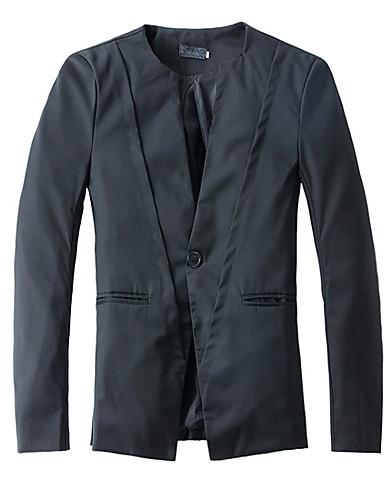 สำหรับผู้ชาย เสื้อคลุมสุภาพ, สีพื้น คอวี เส้นใยสังเคราะห์ สีดำ / สีเทา / เพรียวบาง
