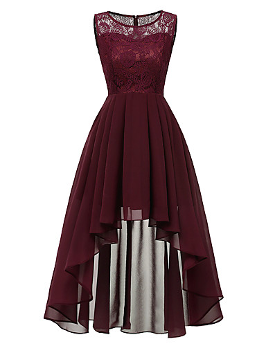 cheap Cocktail Dresses-A-Line Hot Red Wedding Guest Cocktail Party Dress Jewel Neck Sleeveless Asymmetrical Chiffon Lace with Pleats Lace Insert 2020