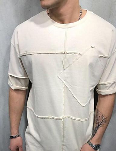 levne Pánská tílka-Pánské - Jednobarevné Tričko Košilový límec Štíhlý Černá