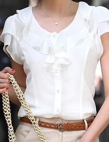 billige Dametopper-Bluse Dame - Ensfarget Hvit