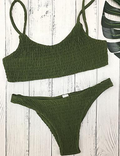 billige Bikinier og damemote-Dame Lyseblå Militærgrønn Marineblå Bikinikjole Badetøy - Ensfarget M L XL Lyseblå