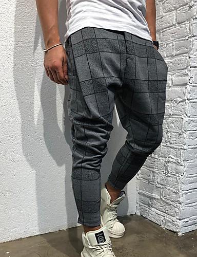 billige Bukser og shorts til herrer-Herre overdrevet EU / USA størrelse Chinos / Joggebukser Bukser - Trykt mønster Sport / Harem Grå Vin Militærgrønn XL XXL XXXL / Elastisitet