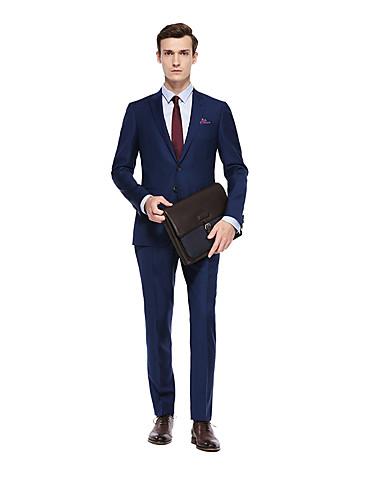 preiswerte Kleider & Accessoires für die Semesterferien-Aquamarin Solide Weite Passform Wolle Anzug - Steigendes Revers Einreiher - 2 Knöpfe