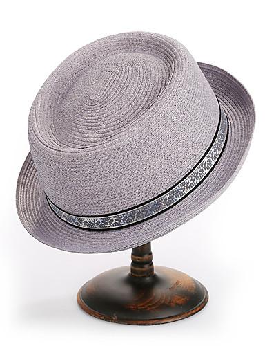 สำหรับผู้หญิง ลายบล็อคสี Straw พื้นฐาน-หมวกบัคเก็ต ฤดูใบไม้ผลิ ฤดูร้อน ตะพุ่น