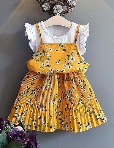 เด็ก เด็กผู้หญิง สไตล์น่ารัก Street Chic ลายดอกไม้ ลายต่อ ลายต่อ ลายพิมพ์ แขนสั้น กระโปรงชุด สีเหลือง