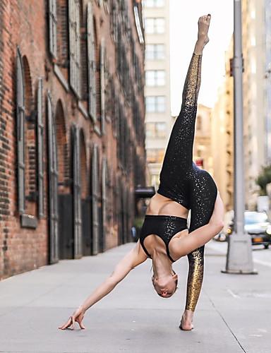 สำหรับผู้หญิง Sporty สกินนี่ กางเกงวอร์ม กางเกง - สปอต ลายเลื่อม เอวสูง ขาว สีดำ สีเทา M L XL