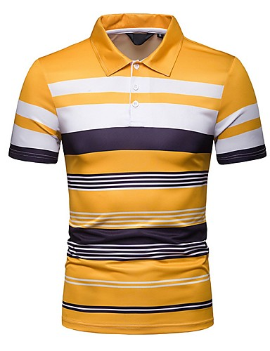 cheap Men's Clothing-Men's Polo Shirt Collar Blue / Yellow / Navy Blue