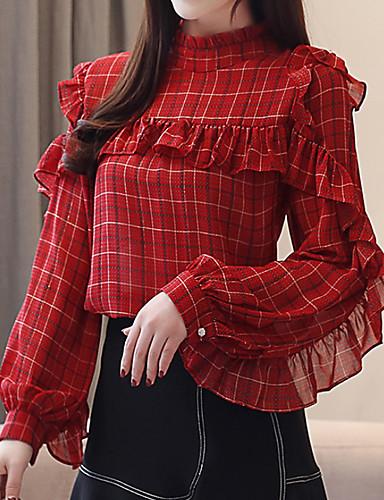 billige Dametopper-Bluse Dame - Stripet Rød