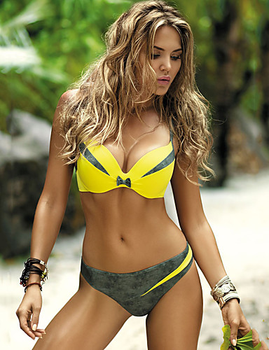 cheap Swimwear & Bikinis-Normal Polyester Swimwear & Bikinis Sexy Geometric Daily Wear Split Joint