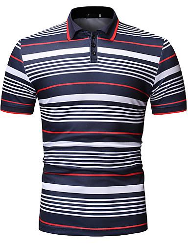 สำหรับผู้ชาย ขนาดของยุโรป / อเมริกา Polo ฝ้าย ลายต่อ / ลายพิมพ์ คอเสื้อเชิ้ต ลายแถบ / ลายบล็อคสี สีดำ
