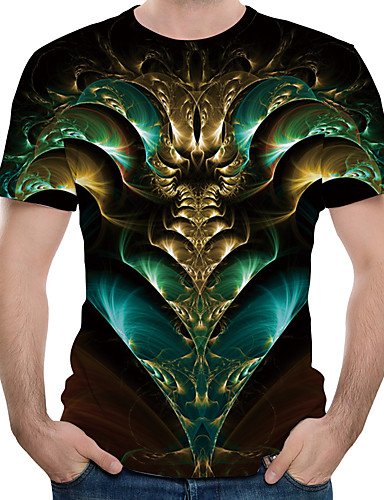 voordelige Heren T-shirts & tanktops-Heren Print Grote maten - T-shirt Katoen 3D Ronde hals Leger Groen / Korte mouw / Zomer