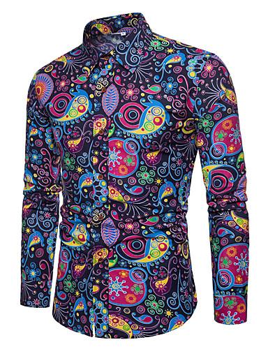 voordelige Herenoverhemden-Heren Vintage / Boho Overhemd Katoen Bloemen / Ruitjes / Paisley Spread boord Slank Lichtblauw / Lange mouw / Lente / Herfst