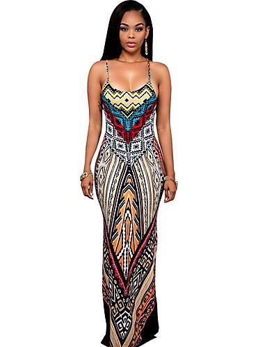 levne Maxi šaty-Dámské Základní Štíhlý Pouzdro Šaty - Geometrický, Tisk Maxi Ramínka