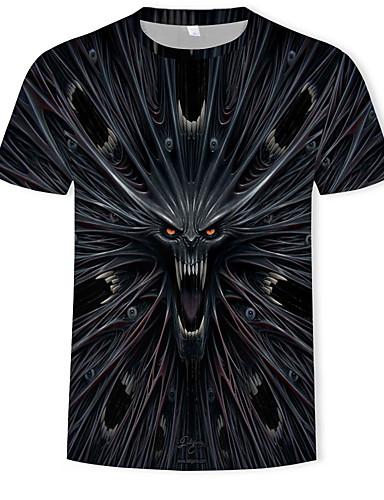 สำหรับผู้ชาย ขนาดพิเศษ เสื้อเชิร์ต ฝ้าย ลายพิมพ์ คอกลม 3D / สัตว์ สีดำ