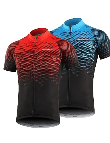 cheap Cycling Jerseys-BERGRISAR Men's Short Sleeve Cycling Jersey Polyester Black / Red Orange Green Gradient Bike Jersey Top Mountain Bike MTB Road Bike Cycling Breathable Quick Dry Reflective Strips Sports Clothing