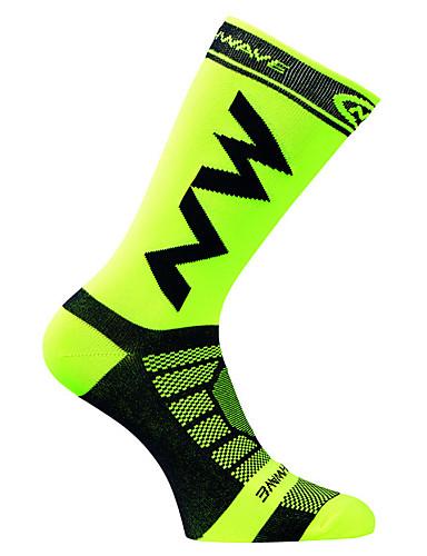 ราคาถูก Sport Socks-ถุงเท้า ถุงเท้าสำหรับวิ่ง ถุงเท้ากีฬา / ถุงเท้ากีฬา ถุงเท้าขี่จักรยาน สำหรับผู้ชาย สำหรับผู้หญิง การปั่นจักรยาน / จักรยาน ระบายอากาศได้ นุ่ม ป้องกันการลื่นไถล 1 คู่ กราฟฟิค ไนลอน ขาว เขียวเข้ม ส้ม