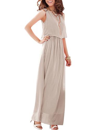 levne Maxi šaty-Dámské Swing Šaty - Jednobarevné Maxi