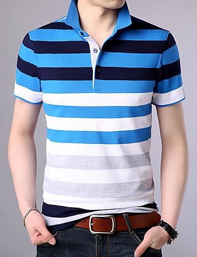 สำหรับผู้ชาย Polo ฝ้าย ลายพิมพ์ คอเสื้อเชิ้ต ลายแถบ สีน้ำเงิน