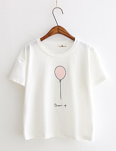 สำหรับผู้หญิง เสื้อเชิร์ต ฝ้าย ลายพิมพ์ กราฟฟิค ขาว