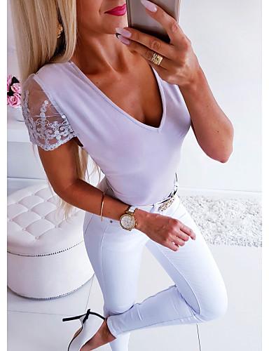 billige Dametopper-Bluse Dame - Ensfarget, Blonde / Åpen rygg / Netting Grunnleggende Lilla
