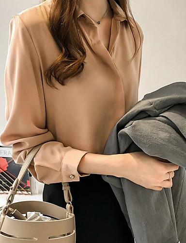 billige Dametopper-Skjortekrage Store størrelser Bluse Dame - Ensfarget Blå