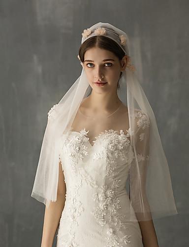 ชั้นเดียว Stylish ผ้าคลุมหน้าชุดแต่งงาน Elbow Veils กับ เข็มกลัด Tulle