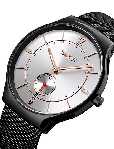 SKMEI สำหรับผู้ชาย นาฬิกาแนวสปอร์ต ญี่ปุ่น นาฬิกาควอตซ์ญี่ปุ่น สแตนเลส ดำ 30 m กันน้ำ ระบบอนาล็อก ภายนอก แฟชั่น - สีดำ สีเงิน ฟ้า