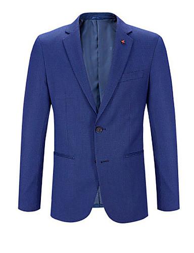 สำหรับผู้ชาย เสื้อคลุมสุภาพ, สีพื้น ปกคอแบะของเสื้อแบบพึค ไหมสังเคราะห์ / เส้นใยสังเคราะห์ สีน้ำเงินกรมท่า / เพรียวบาง