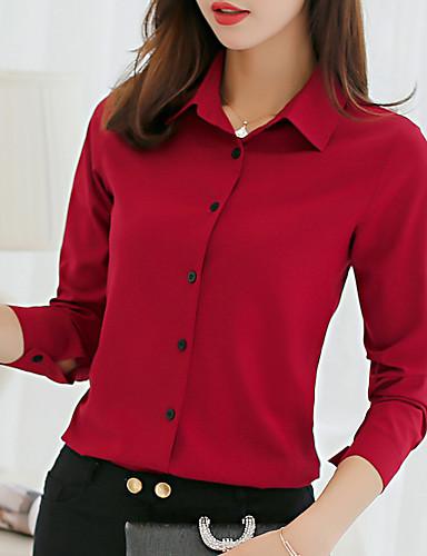 preiswerte Damen Oberteile-Damen Solide Hemd Hellgrün